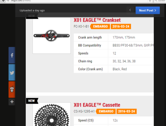 SRAM X01 Eagle 2017 Screenshot